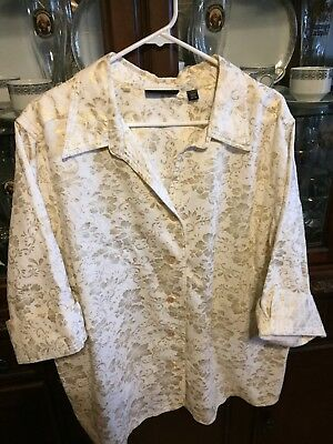 Avenue Linen Blend Shirt Top Size 26/28 Ivory Gold Floral 3/4 Sleeve preowned