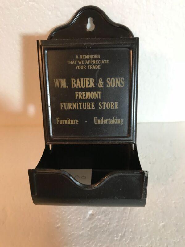 "ADVERTISING MATCH HOLDER..""WM.BAUER & SONS""... FREMONT FURNITURE STORE..."