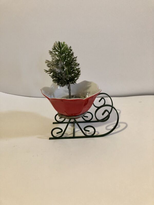 Vintage Rare Christmas Sleigh Red Porcelain Planter w/ Tree Made In Japan