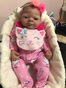 "SOLD 22"" Reborn Baby Girl Doll vinyl with bassinet Docklands Melbourne City Preview"