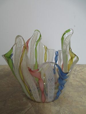 MURANO VENETIAN LATTICINO RIBBON ART GLASS HANDKERCHIEF VASE COPPER  PONTIL