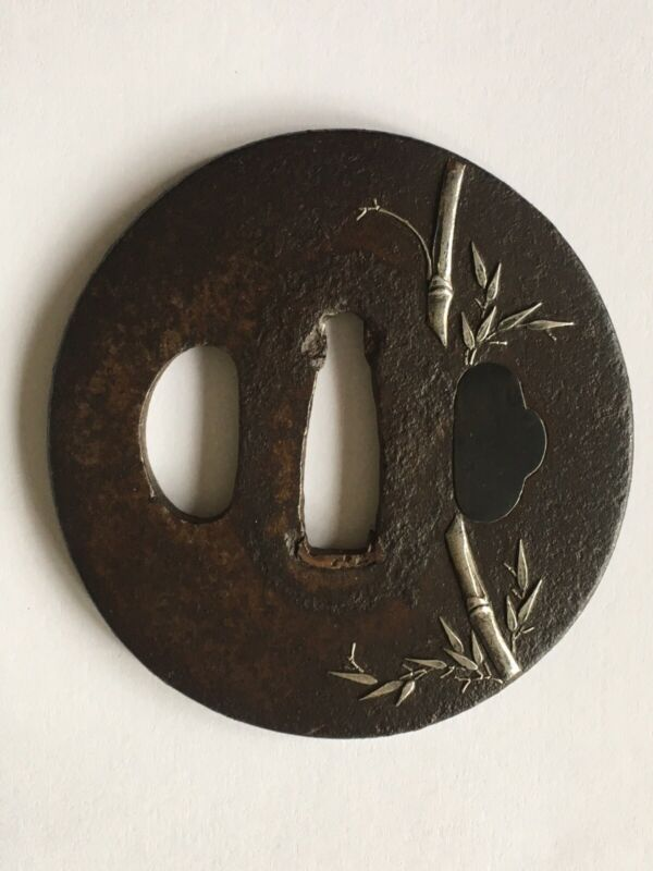 Antique Japanese Iron Tsuba With Silver Inlay Bamboo