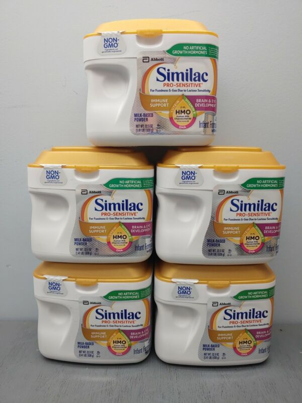 5 Similac Pro-Sensitive Infant Formula w/ Iron Immune Support EXP 7/22+ 10D Gold