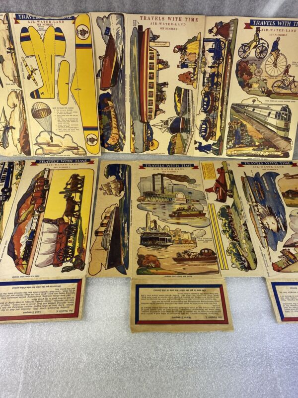 1930's Toasties Post Cereal Boxes Travels With Time # 1-6 Air - Water - Land