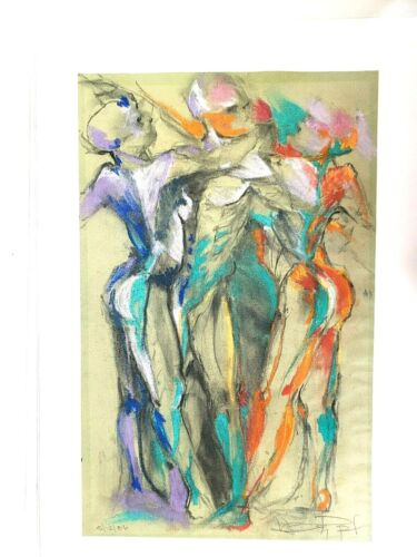 Abstract Human Figures Dated 1986 Modern Art Signed 16x23 Original Pastel