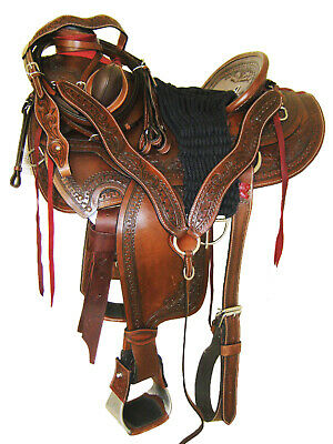 "'THSL' WADE ROPER RANCH SADDLE SET TOOLED/CARVED TAN 16"" HARD SEAT (WLI_005)  for sale  Shipping to Canada"