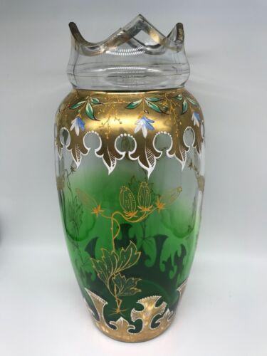 Green Glass Vase Gilt and Enamel Circa Mid 1900