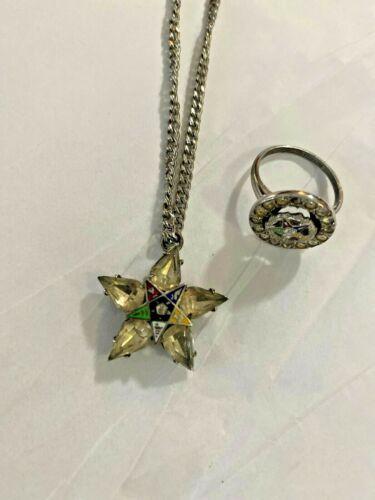 Vintage Eastern Star Ring & Bracelet Silver Tone finish