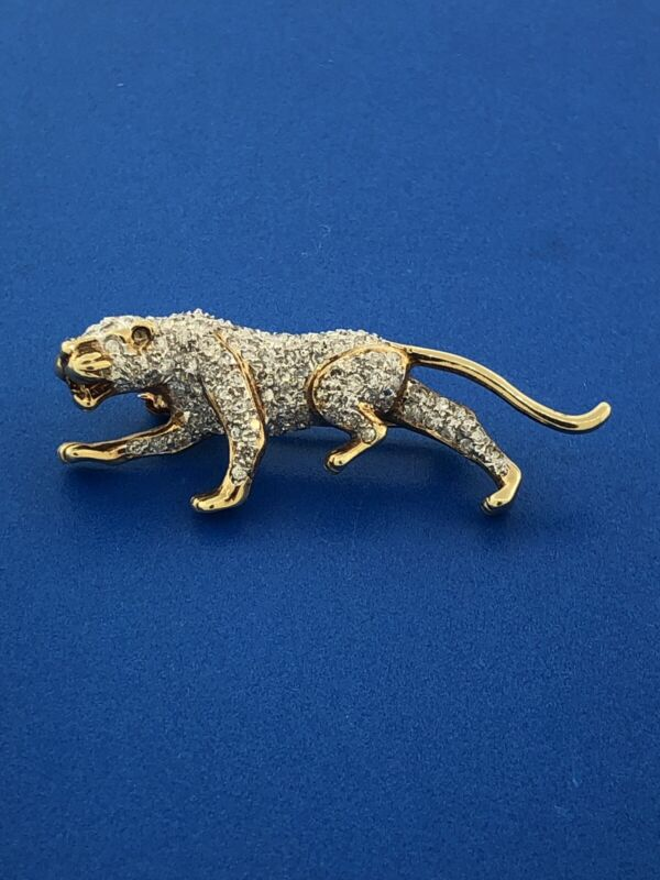 Art Deco Designer 14K White Yellow Gold Diamond Tiger Panther Pin Brooch Pendant