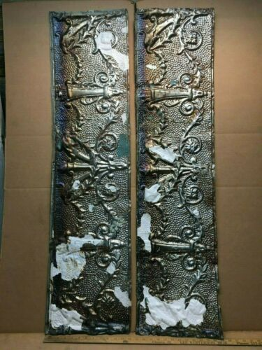 """2pc 48"""" x 12"""" Flat Molding Antique Ceiling Tin Vintage Reclaimed Salvage Craft"""