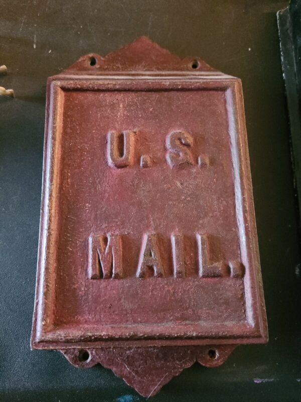 Vintage Cast Iron Metal U.S. Mail MAILBOX Wall Hanging Slot One Open Side