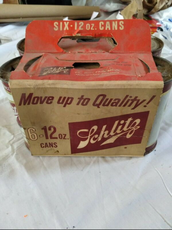 Vintage Schlitz 6 Pack Flat Top Cans Plus An Extra Can
