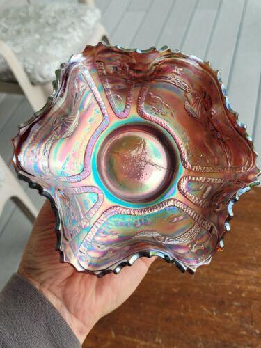 Fenton Carnival Glass RED Sailboats Ruffled Bowl Great Color
