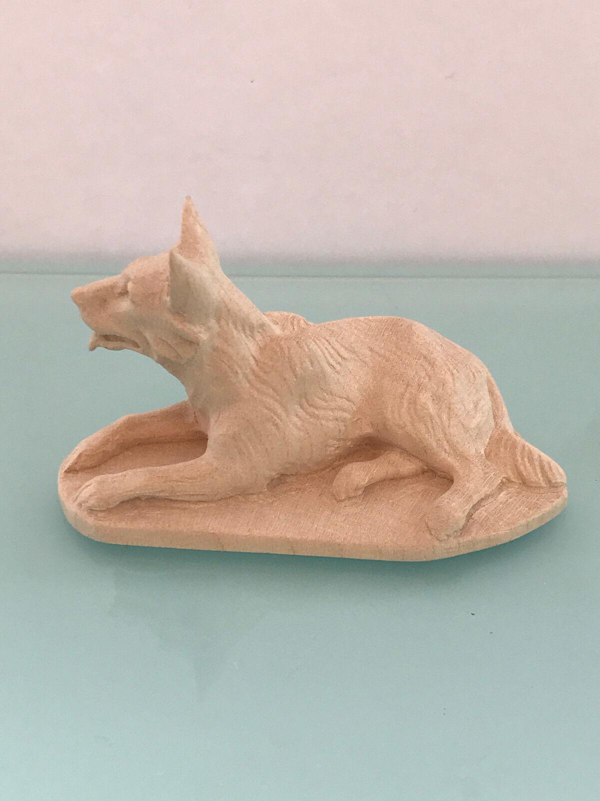 Ältere Krippenfigur Handgeschnitz Holzkunst Woodcarving Schäferhund