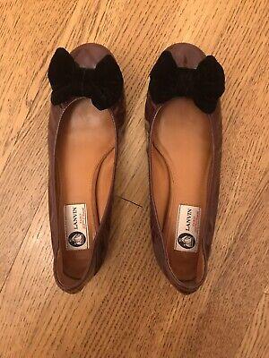 Lanvin Maroon Patent Leather Black Velvet Bow-Embellished Ballet Flats Size 40