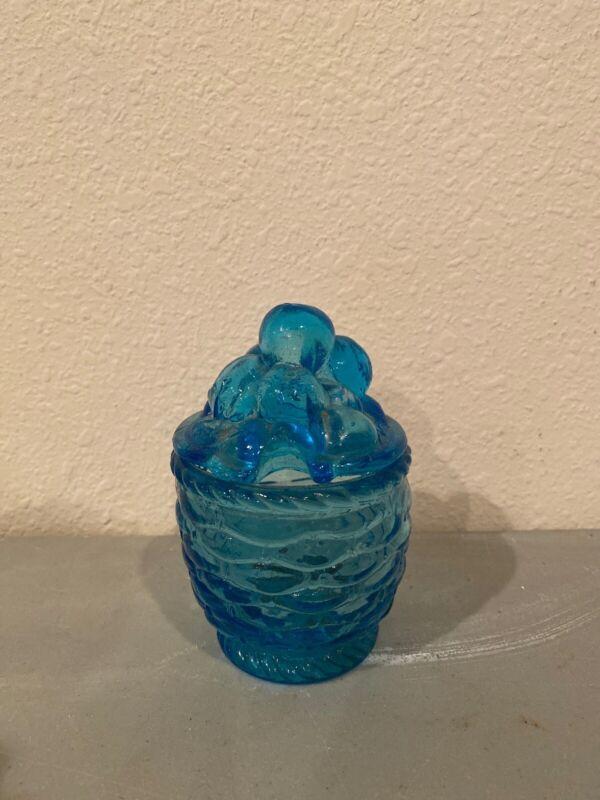 Vintage Blue Glass Sugar Bowl- Covered
