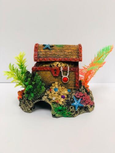 GloFish Aquarium Décor Treasure Chest work Air Pump stone Ornament for Aquarium