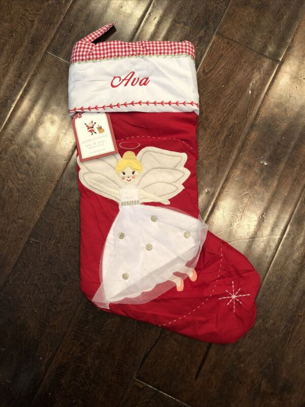 NWT Pottery Barn Kids Blond Angel Red Quilted Christmas Stocking Mono Ava