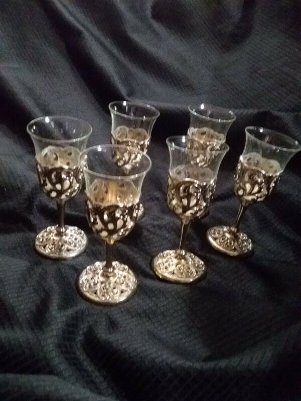 Silver Plated Cordial Stems With Glass Liner-Inserts Set of 6 Vintage