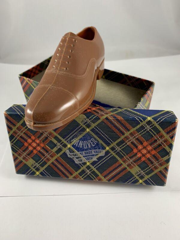 Vintage Plastic Hanover Shoes Salesman Sample Mens Dress Shoe In Original Box