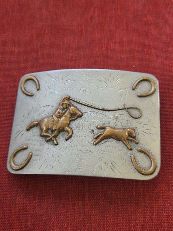 Vintage Ricardo Nickel Silver Bronze Trim Belt Buckle in good condition A2