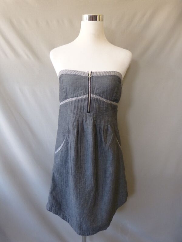 Quicksilver Blue Denim Cotton Strapless Seersucker Assymetrical Hem Dress Size M