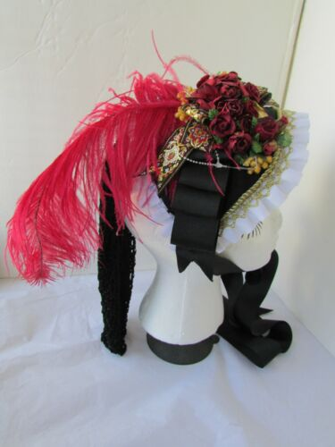 Womens Black Victorian Millinery Tilt Hat Hair Netting Flowers Feathers Costume