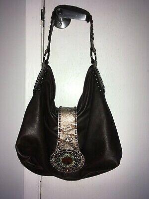 Leatherock BROWN Leather Crystal studded PYTHON embossed Hobo Bag Shoulder Tote