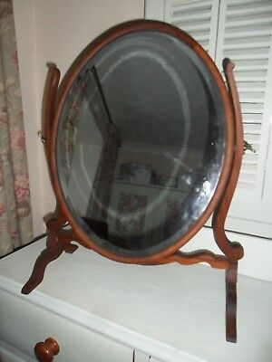 Large Antique Edwardian Mahogany Swing Framed Toiletry Mirror with Bevelled Glas