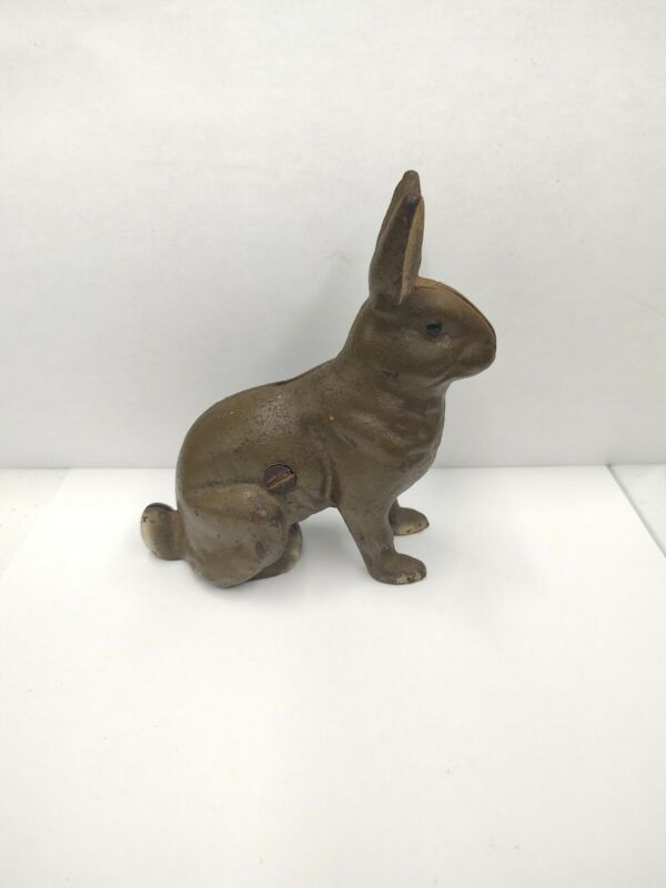 Antique Cast Iron Brown and White Rabbit Coin Bank