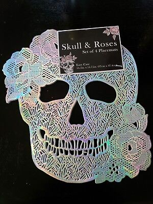 Halloween Iridescent Sugar Skull Day of the Dead Vinyl Silver Placemats set of 4