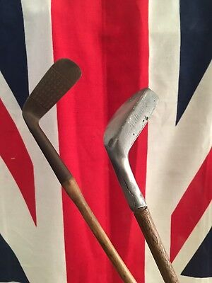 Pair Of Vintage Hickory Golf Clubs- Putters- Steel And Aluminium- Decorative?