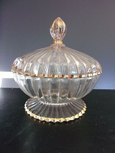 VTG Large Jeanette Ribbed Lidded Candy Dish with LId Gold Trim