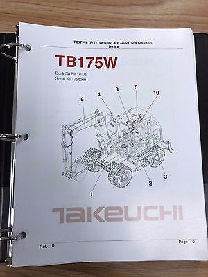 Takeuchi Tb175w Parts Manual Sn 17540001 Free Priority Shipping