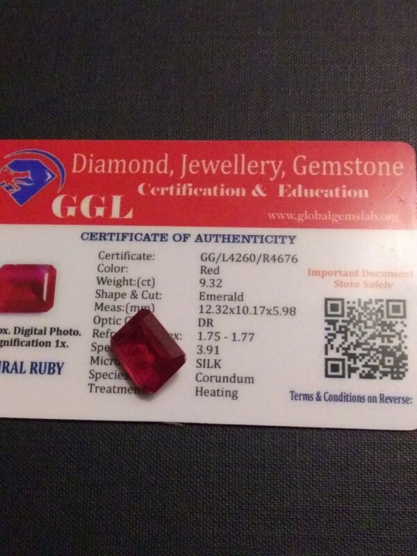 NATURAL CERTIFIED GEM TESTED RED RUBY 9.32 CARATS
