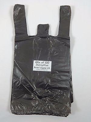 100 Qty. Black Plastic T-Shirt Retail Shopping Bags w/ Handles 8