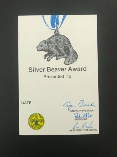 BSA Boy Scouts Of America Silver Beaver Card Unused, 1990 Printing, George Bush