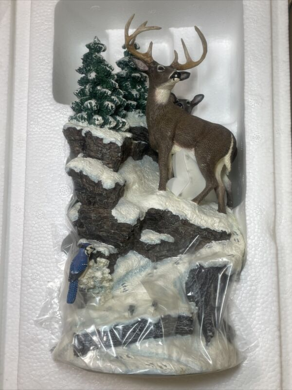 Danbury Mint Winter Whitetails Deer Sculpture Wood Base Crystal Glass Dome New