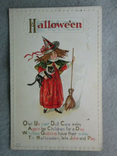 Antique Halloween O Let Us Cast Dull Care Away, Girl Witch, Black Cat Postcard