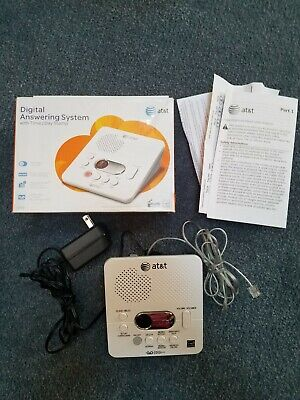 AT&T 1740 Digital Phone Answering Machine System with Time & Day Stamp White