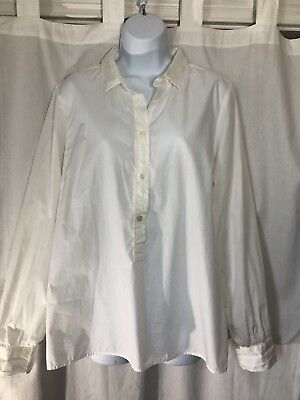 Jcrew White Pullover Business Casual Blouse Size Large NWT