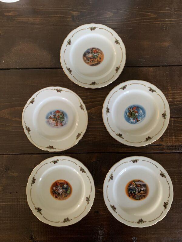 """5 Christineholm Porcelaine Lars Carlson 6.5"""" Plates Elves Gnomes"""