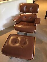 Eames Replica Chair and Footrest - Tan Leather Turramurra Ku-ring-gai Area Preview