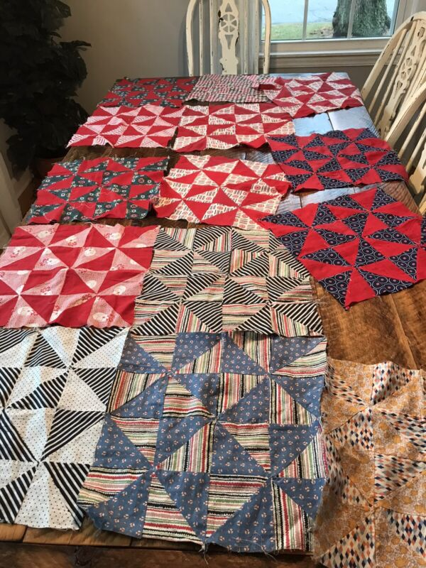 ANTIQUE QUILT BLOCKS LOT OF 14 SQUARES OLD FABRICS Red White Vintage