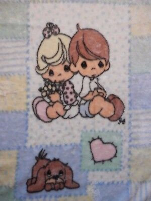Precious Moments Plush Luxury Fleece Baby Blanket Boy Girl Puppy Dog Heart Plaid