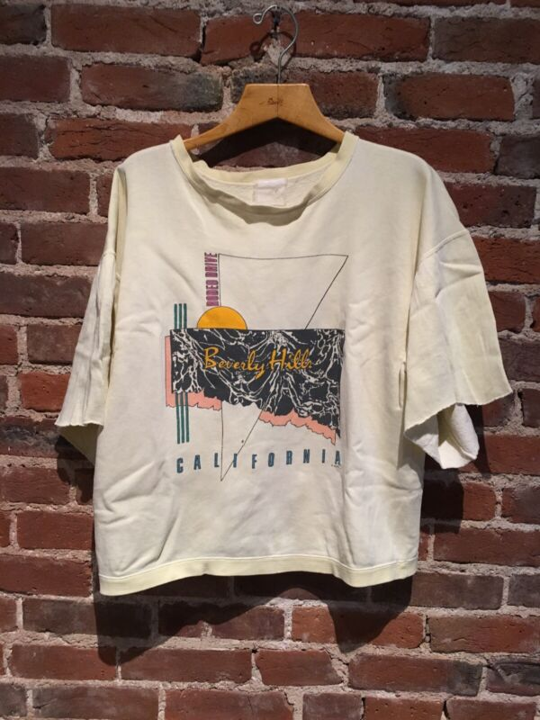 Vintage 80s Sweatshirt Rodeo Dr Beverly Hills California Faded Yellow Boxy XL