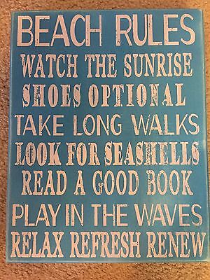 Beach Rules Wooden Box Sign 14