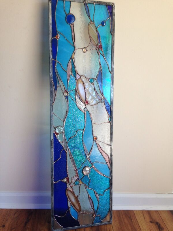 Abstract Stained Glass  Window Contemporary Panel w Brazilian Agates   Transom