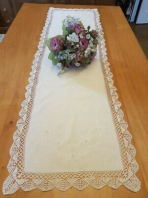 Vintage Embroidered Table Runner, Approx 131cm x 39cm