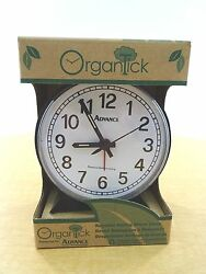 New Organtick Keywind Analog Alarm Clock Model #2054 - Black with white face